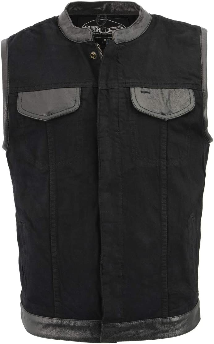 M Boss Motorcycle Apparel BOS13010 Men's Black Denim Club Style Vest with Leather Trim and Hidden Zipper - 5X-Large