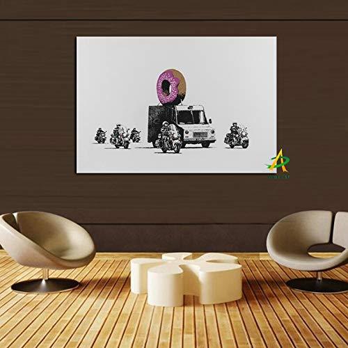 Dekorative Pop-Art-Leinwand-Malerei drucken Plakat auf Leinwand gepanzerte Fahrzeuge und Motorrad-Wandkunst Wohnzimmer rahmenloses dekoratives Bild A21 60x80cm