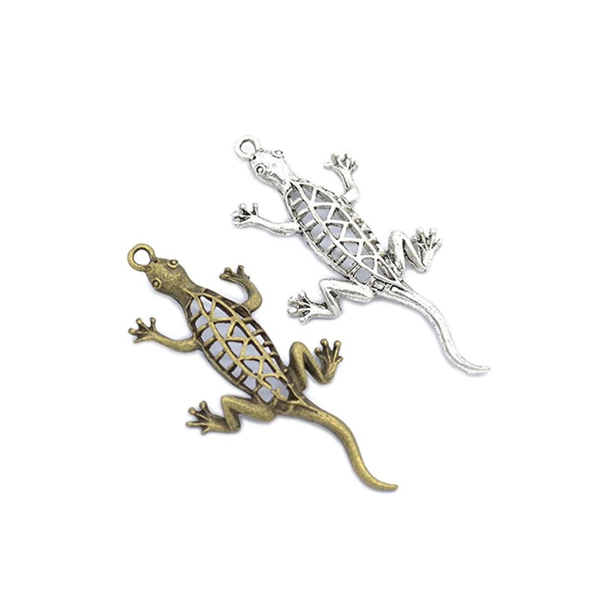 30PCS Alloy Antique Silver Animal Small Lizard Gecko Charms for Pendant Necklace Finding Jewelry Making DIY Accessories 51x26mm (30pcs)