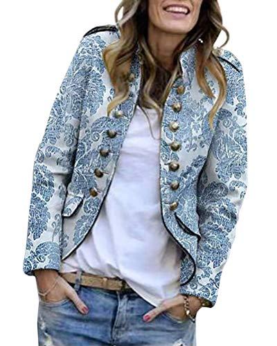 Tomwell Damen Blazer Cardigan Längere Elegant Leicht Bolero Jacke Blazer Slim Fit Anzug Trenchcoat Drucken 34