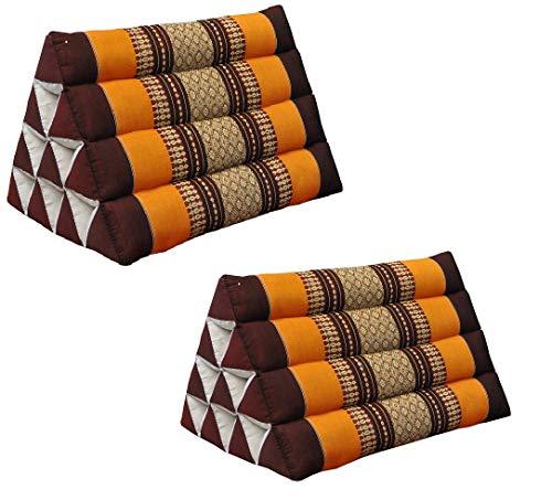 Wilai GmbH Set di 2 Cuscini Triangolo Thai, guanciale, Fabbricato in Thailandia, Marrone/Arancione (2x81100)