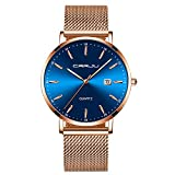 Damen Uhren Blau Analog Quarz Edelstahl Wasserdicht Mesh Ultradünne Armbanduhren für Damen Golden