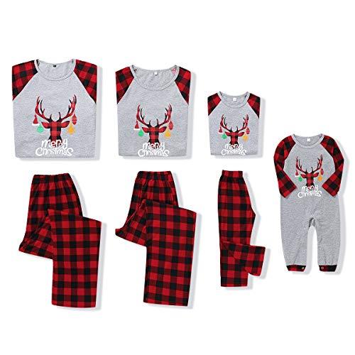 Famille Pyjama Ensembles de Noël Tenues à Deux Pièces Manches Longues Tops + Long Pantalon écossais Vêtement de Nuit Tenues de Festival pour Mère Papa Garçon Fille Bébé