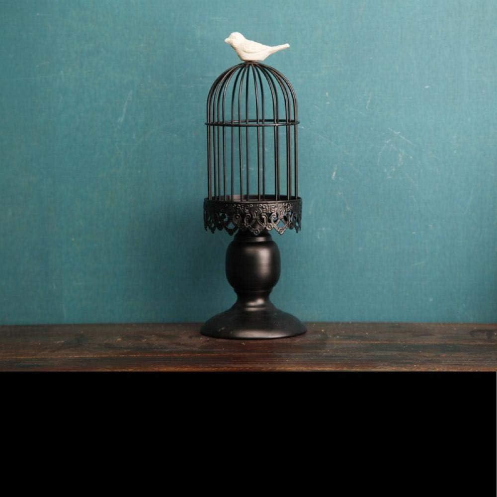 LOSAYM Award Wholesale Desktop Decor Sculptures Candlestic Iron Birdcage Statues