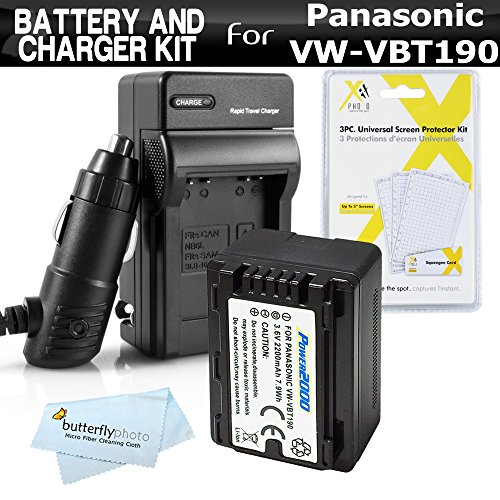 Battery and Charger Kit for Panasonic HC-V770, HC-WXF991K, HC-W580K, HC-VX981K, HC-V180K, HC-V380K, HC-VX870K, HC-W570K Camcorder Includes Replacement VW-VBT190 Battery + Ac/Dc Charger + More