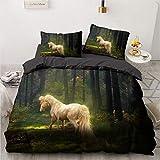 Juego de ropa de cama de caballo, diseño 3D, funda de edredón de color blanco, fundas de almohada para cama Full King Queen Super King, tamaño doble