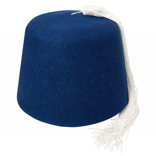 Village Hats Chapeau Fez Bleu avec Houppe Blanche Large