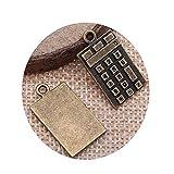 honggui1111-15pcs encantos calculadoras 2 colores 23x13mm aleación metal joyería DIY accesorios (bronce antiguo)