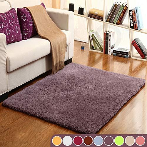 Muutos Carpet 70x130cm, Wohnzimmer Carpet, Gemütlich, Flauschiger, für Wohnzimmer, Schlafzimmmer, Kinderzimmer, Esszimme - Grau lila
