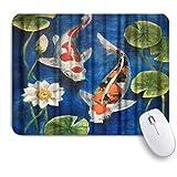 ZOMOY マウスパッド 個性的 おしゃれ 柔軟 かわいい ゴム製裏面 ゲーミングマウスパッド PC ノートパソコン オフィス用 デスクマット 滑り止め 耐久性が良い おもしろいパターン (池の蓮とカラフルな鯉魚)