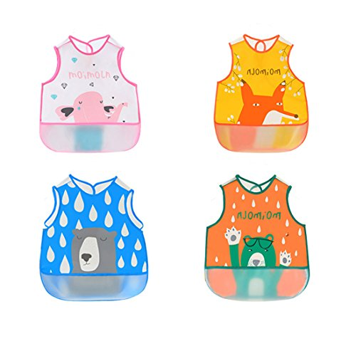 Irypulse Pack de 4 Baberos de Sin manga Alimentación Impermeable para Bebé 0-3 Años, EVA Material Con Bolsillo Para Pintura Comer Jugar Rosa/Naranja/Azul/Verde