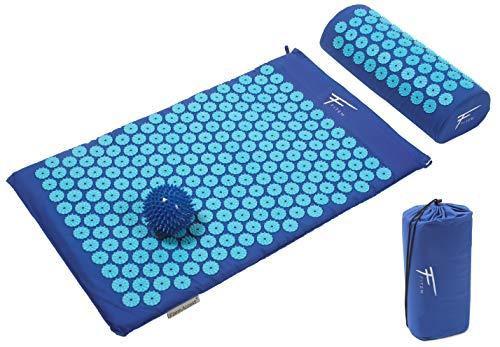 Kit de acupresión Fitem - Esterilla de acupresión + Cojín de acupresión + Bolsa + Bola de masaje - Alivia dolores de Espalda y Cuello - Ciática - Masaje de espalda - Relajación muscular