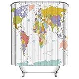 JOOCAR Duschvorhang mit Weltkarte & Städten, wasserdicht, Polyester, mit 12 Haken, Größe: 168 x 183 cm