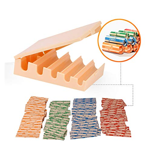 Coin Changers Tray Bundle of 100 Assorted Wrappers with 1 Compact Coin Sorter & Counter Organizer