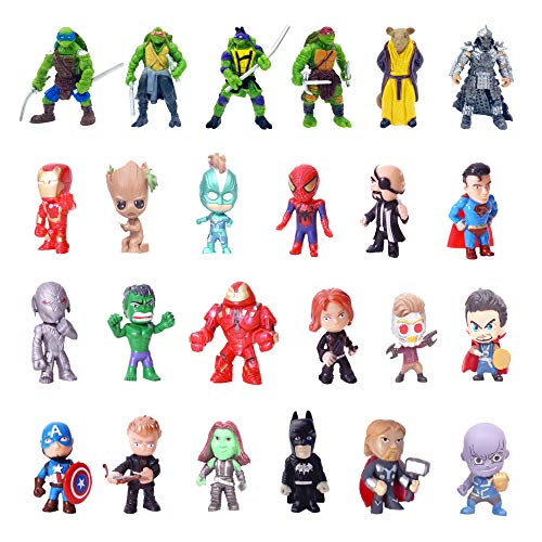 Superhero Mini Action Figures Sets for Kids, Cupcake Toy Set to Birthday Party, Boy's Anime Hero Figures Set, Theme Party Dress up Toy (24-SPSET)