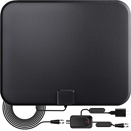 TV Antenna,Digital Indoor HD TV Antenna with Amplifier Signal Booster Up to 200 Mile Range- Support 4K 1080P Fire tv Stick and All TVs-17ft Coax HD TV Cable/AC Adapter