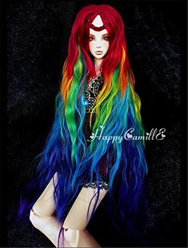 Tita-Doremi BJD Poupée Perruque Ball-jointed Doll 1/3 8-9 Inch 21-22cm Dollfie Pullip SD DOD DD Rainbow Toy Head Perruque Cheveux (Perruque Seulement,pas une poupée )