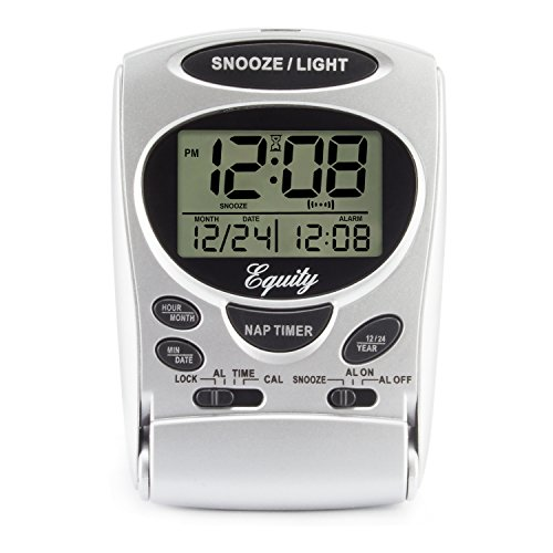 Equity by La Crosse 31300 Fold-Up LCD Travel Alarm Clock with Nap Timer & Backlight