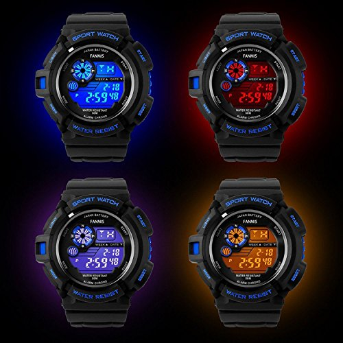 Fanmis Mens Military Multifunction Digital LED Watch Electronic Waterproof Alarm Quartz Sports Watch Blue