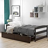 Kteam Pine Wood Twin Size Platform Bed, with Two Drawers, Wooden Storage Drawer Bed Frame Suitable for Adult Youth and Children Solid Wood Bed(Espresso)