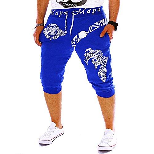 Pantalones Cortos Hombre Verano 2020 Nuevo SHOBDW Casual Impresión de Letras Pantalones Hombre Chandal Cordón Elástico Pantalones Cortos Hombre Deporte con Bolsillos Tallas Grandes (M, R-Azul)
