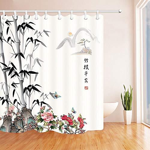SRJ2018 Ten dell'acquazzone della Decorazione Orientale Stuoia Stile Cinese bambù e Fiore Bagno Domestico della Muffa del Bagno Domestico Resistente alla Muffa 180X180CM