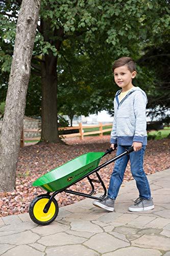 TOMY John Deere Steel Wheelbarrow for Kids, Green
