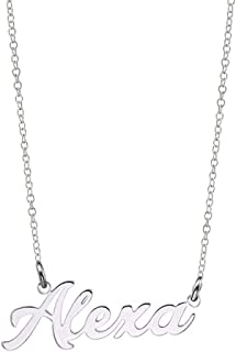 "Ouslier Personalized Name Necklace Cursive Font Made with Any Nameplate Pendant 16"" to 18"" Chain"