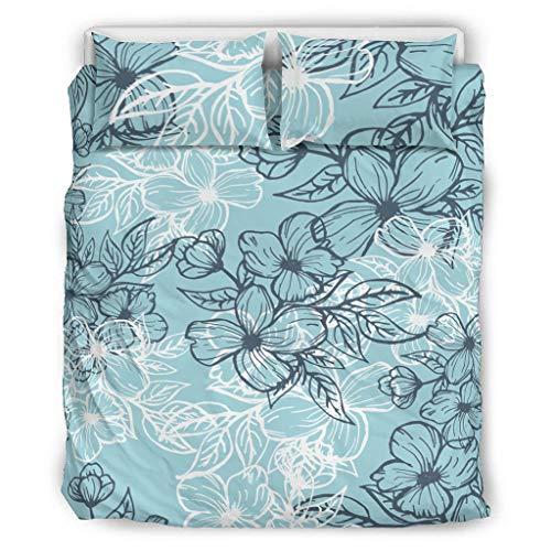 Bohohobo Ropa de cama de flores fundas de edredón de ropa de cama patrón europeo color gris decorativo juego de almohada blanco 168x229cm