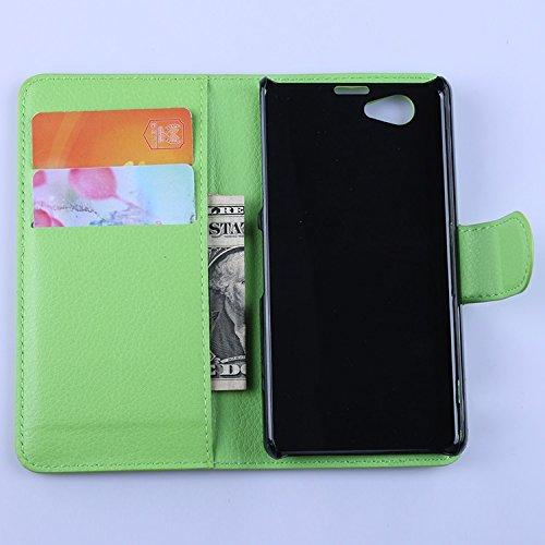 Ycloud Tasche für Sony Xperia Z1 Compact (4.3 Zoll) Hülle, PU Ledertasche Flip Cover Wallet Hülle Handyhülle mit Stand Function Credit Card Slots Bookstyle Purse Design grün