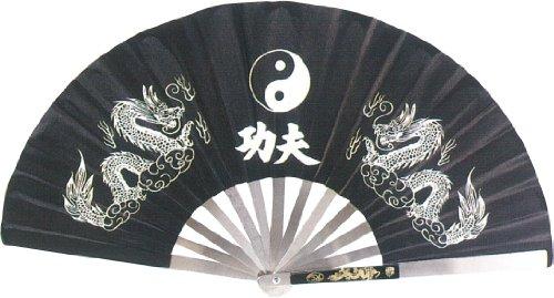 BladesUSA Kung Fu Abanico de Pelea, Marco de Acero Inoxidable, Negro, 14.75-Inch Long/27.25-Inch Opened