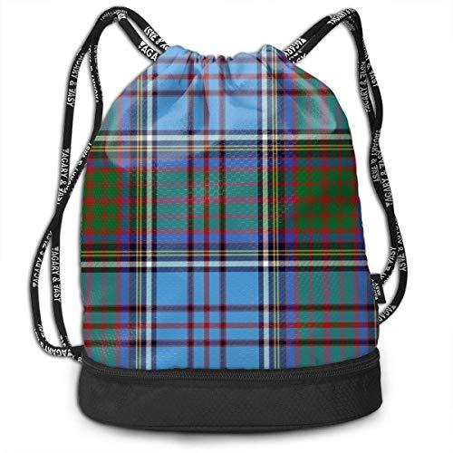 Schotse Tartan Plaid Blue Gym Trekkoord Sporttas Eenvoudige Quick Dry Bundel Rugzak
