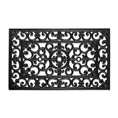 """DII Indoor Outdoor Rubber Easy Clean Entry Way Welcome Doormat, Floor Mat, Rug For Patio, Front Door, All Weather Exterior Doors, 18 x 30"""" - Scroll"""
