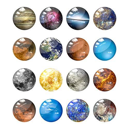 Lesfit 16 Stück 3D Glas Kühlschrankmagnet Planet, Starke Magnete für Magnettafel, Kühlschrank, Whiteboard