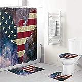 ALLMILL 4-teiliges Weißkopfseeadler Amerika Duschvorhang-Set Badezimmer Anti-Rutsch-WC-Vorleger,Deckel WC-Abdeckung,Badematte,Duschvorhang mit 12 Haken