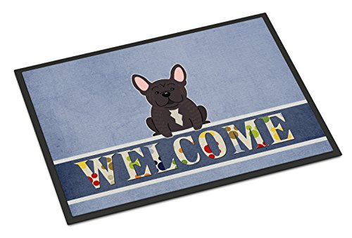 Caroline's Treasures BB5590MAT French Bulldog Brindle Welcome Indoor or Outdoor Mat 18x27, 18H X 27W, Multicolor