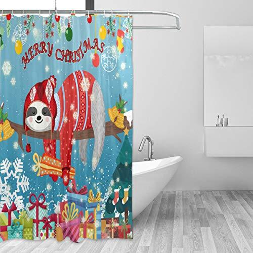 ZOEO Weihnachts-Duschvorhang, Rot, Weihnachtsmann, Stoff, wasserdicht, große Fenster, Badezimmer-Gardinen, Set, Bauernhof, Home Tub Decor 12 Haken, 182,9 x 182,9 cm, Polyester, Faultier, 72 X 72 Inch