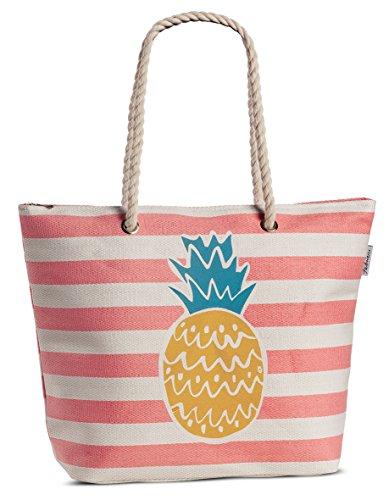 Tasche Damen Shopper Bast Beach Strandtasche Ananas gestreift mit Obst-Motiv