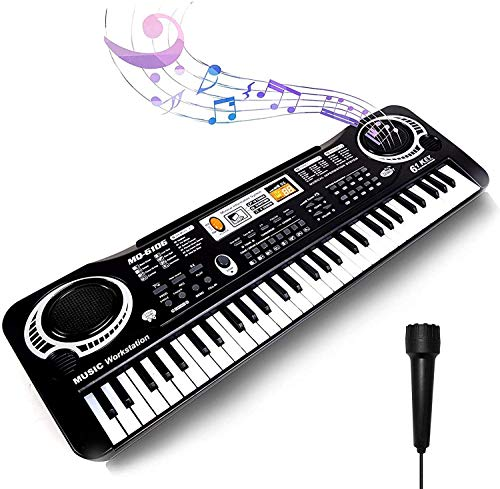 Keyboard Piano Kids 61 Key Electronic Digital Piano Musical Instrument Kit with Microphone Music Home Teaching Christmas Gift Toys for Boy Girls -01