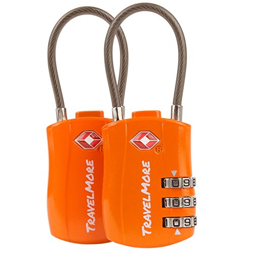 2 Pack TSA Approved Travel Combination Cable Luggage Locks for Suitcases & Backpacks – Orange