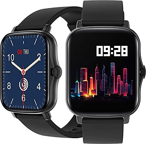 Orologio Smartwatch 1.69 pollici Impermeabile fitness tracker Uomo Donna con Saturimetro Misura pressione sanguigna Monitoraggo sonno Funzioni Sport per Android e iOS (Nero)