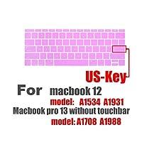 USキーキーボードフィルムfor Macブックプロ13 A1708 A1988と12インチA1534 A1931シリコンキーボードプロテクターカバー保護フィルム-E-