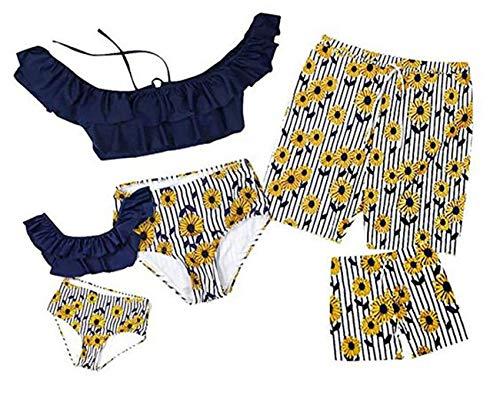 Maillot de Bain Deux-Pièces Imprimé Fruits sans Manches Bikini, Maman et Fille Dos Nu Col Tops Taille Haute Bas Bikinis Shorts de Bain Papa et Garçon