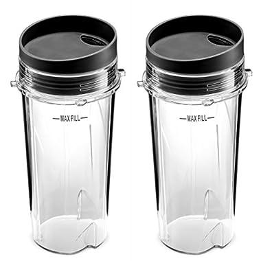 Ninja Single Serve 16-Ounce Cup Set for BL770 BL780 BL660 Professional Blender (Pack of 2)