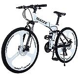 Hyhome Bicicletas de montaña plegables para adultos, 26 pulgadas, 3 radios ruedas 27 velocidades, bicicleta de montaña de doble disco para hombres y mujeres (blanco)