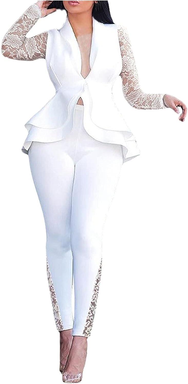 Women's Novelty Business Suit Set for Office 2 Piece Button Fishtail Hem Lace Sleeve Blazer Pants Plus Size Work Wear