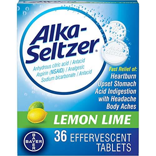 Alka-Seltzer Heartburn Effervescent Tablets Lemon Lime - 36 ct, Pack of 2