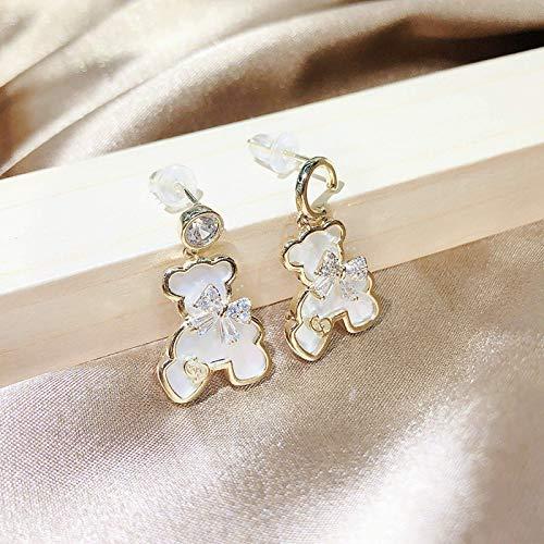 Kkghta Joyería Earrhee Diamante Completo Lindos Osos Pendientes Temperamento S925 Pendientes de Aguja de Plata