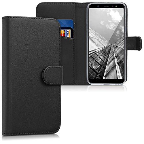 kwmobile Hülle kompatibel mit Samsung Galaxy A6 (2018) - Kunstleder Wallet Case mit Kartenfächern Stand in Schwarz
