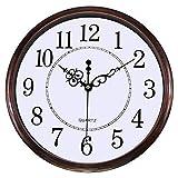 Lumuasky 12-Inch Round Retro Clock, Non-Ticking Silent Wall Clock Decorative, Battery Operated Quartz Analog Quiet Wall Clock for Living Room, Kitchen, Bedroom (Bronze)
